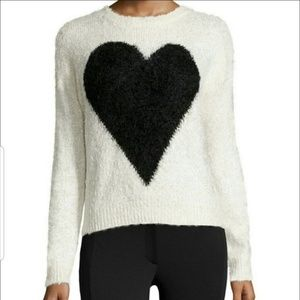 Neiman Marcus Fuzzy Heart Sweater